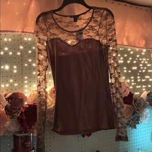 Brown Lace Top Long Sleeve Shirt